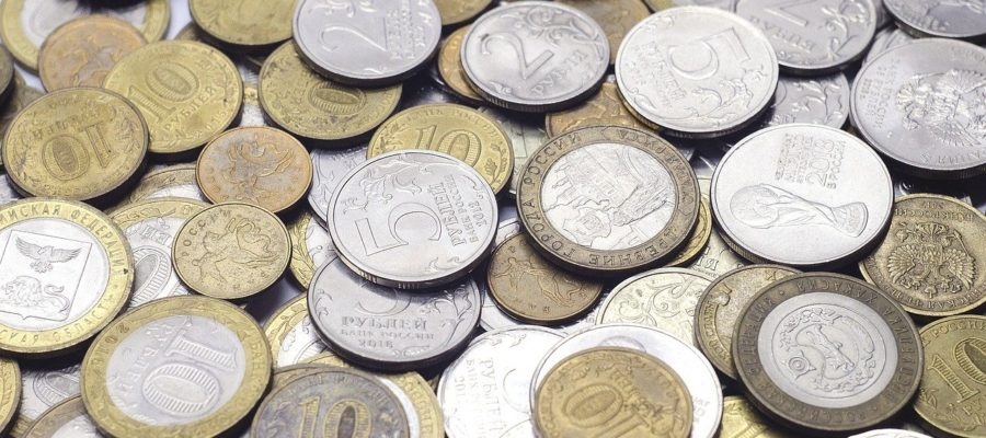 Coins Ruble Russian Money Finances